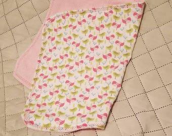 Elephant burp cloth, baby girl, girl, Baby burp cloth, Baby shower gift, Newborn gift, bird, green, pink, cute