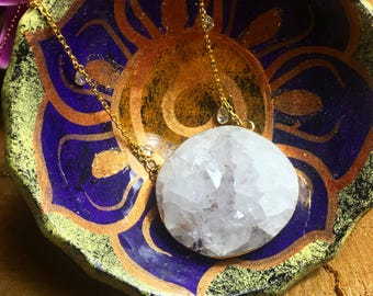 Large Amethyst Necklace with Teardrop accents and Gold Filled chain