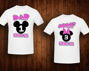 family shirts hot pink minnie mouse birthday theme mom of the birthday girl dad of the birthday girl