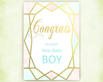 Congratulations, for New Baby, Welcome Card, for New Parents, Modern Baby, Baby Boy Card, Welcome Baby Boy, Birth of Boy, Baby is Here, Gift