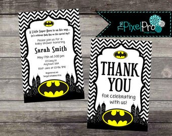 Batman baby shower invitation, boy baby shower batman announcement, girl batman baby shower, batman theme baby shower or sprinkle, batman