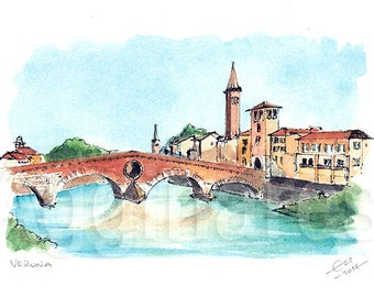 Verona Italy / art print from an original watercolor painting