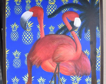 Original Acrylic Painting one of a kind  Flamingo collection.