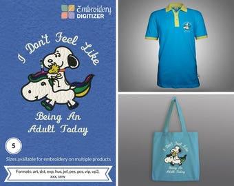 Snoopy Riding Unicorn Applique Embroidery Design