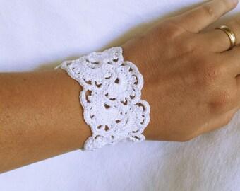 elegant white crochet lace bracelet