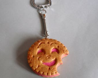 key ring, polymer clay, raspberry filled cookie