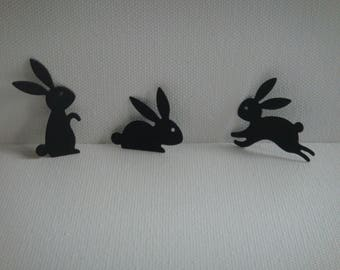Set of 3 bunnies black paper for scrapbooking and card design
