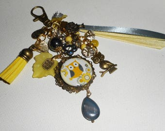 Jewelry bag/key OWL with matching ribbons and yellow and gray glass beads