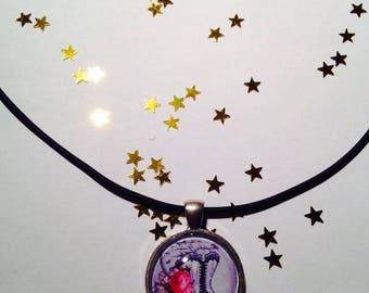 """Rubber pendant 25 mm """"Romantic Corset"""" Choker necklace"""