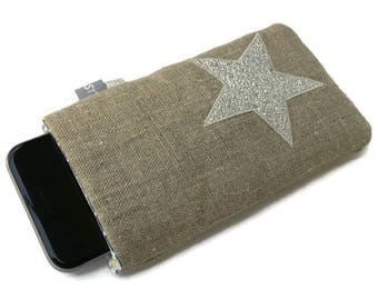 Pouch case phone cell linen and star double glitter