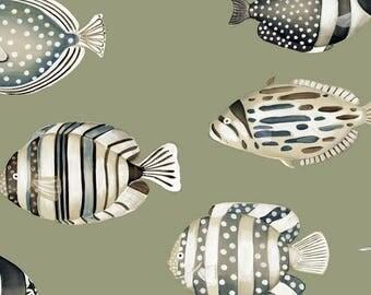 Fabric, coupon, sea, Copacabana, fish, Thévenon