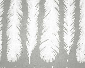 Fabric made 280cm, feathers, white, new world, Thévenon