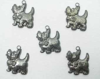 LOT 5 METALS black CHARMS: Westie 18mm