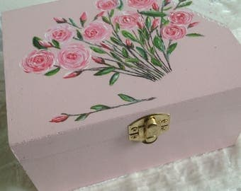 Powder Pink wood jewelry box handpainted bouquet of roses