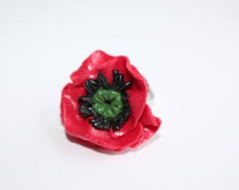 Adjustable red poppy polymer clay ring