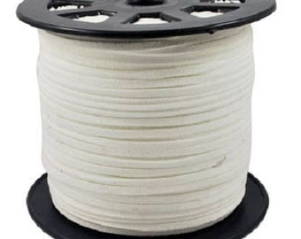 2 meters cord suede suede 3 mm x 1.5 mm white