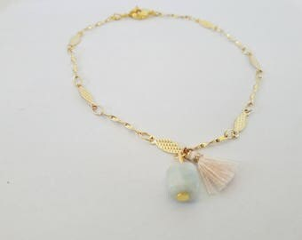 Vintage bead and tassel chain bracelet