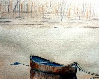 watercolor a boat waiting on a Lake