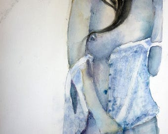 Blue woman, watercolor has a half naked