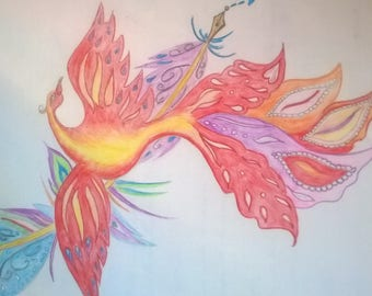 The phoenix writing thousand rainbow color