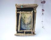 art céramique, plume de paon,bois flotté, décoration nature,cadeau rustique,art végétal, art tribal, porte bonheur,cadeau décoration,nature