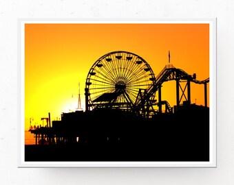 Sunset Poster - Santa Monica Pier at Sunset Print, Sunset Photograph, Sunset Download, Orange Decor, California Decor, Sunset Printable Art