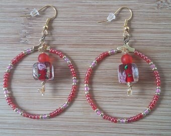 Seed beads and lampwork earrings