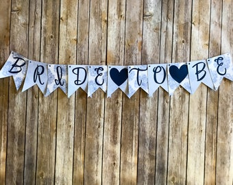 Bride to Be Banner- Something Blue Floral