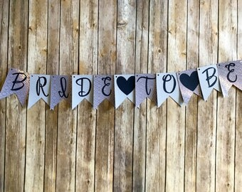 Bride to Be Banner- Blue and Rose Gold Stripe
