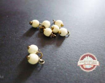 10 pearls round stone howlite ecru 4x8mm charms