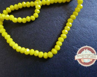 50 yellow 2x3mm glass faceted round beads