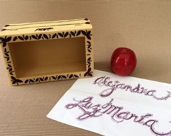 Your name in the box. Wooden box. Hand-painted. Name in calligraphy. Personalized gift. Unique design.