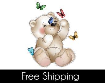 Teddy bear and butterflies wall sticker, teddy bear and butterflies wall decal decor, bear wall sticker removable vinyl wall art [CH001]
