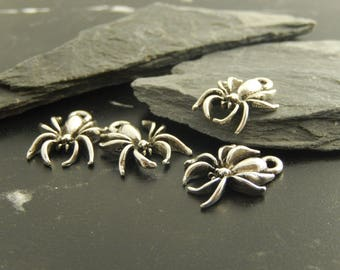 4 silver metal spider charms