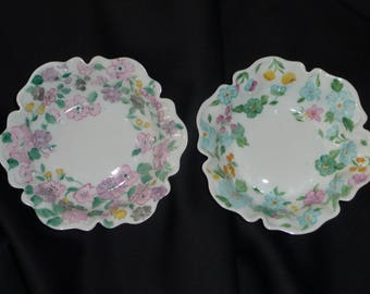 2 cups contoured hand painted Limoges porcelain. Liberty print