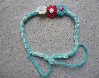 Kids headband, headband with crochet flowers