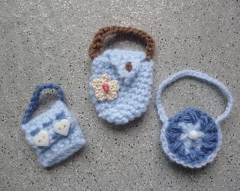 Miniature bags made by hand crochet wool doll accessories, applied bag, miniature