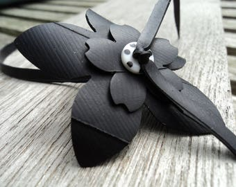 Flowers anklet in inner tube recycled and white button with black polka dots