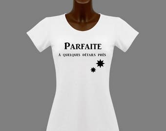 Perfect white humor women t-shirt has some details close