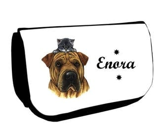 Clutch black makeup /crayons dog and cat personalized with name