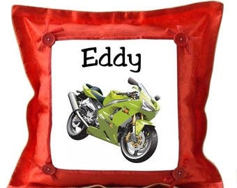 Red motorcycle custom cushion with name