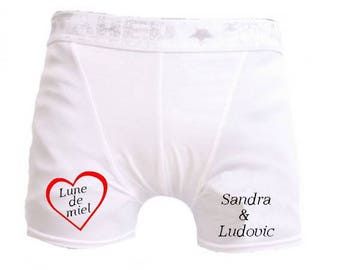 Pants white man honeymoon personalized with name