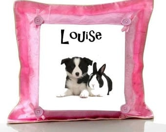 Cushion Pink dog and rabbit personalized with name