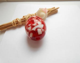 resin Pearl olive red and white
