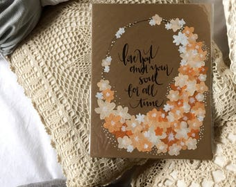 Hand lettering, homemade print, 8.5x11in, home decor, chipboard