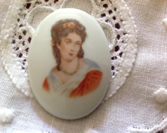 Antique Limoges porcelain oval cabochon