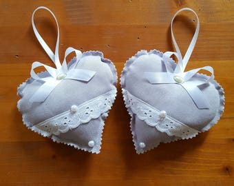 2 GRAY COZY BRODERIE ANGLAISE LACE CHARM HEART DOOR CUSHIONS