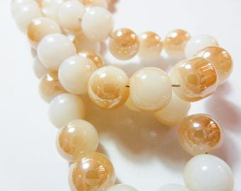 30 8mm two-tone white and champagne gold glass beads