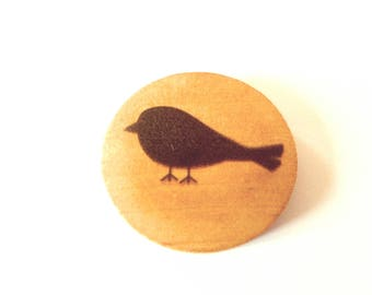 Cabochon 30 mm wooden black bird