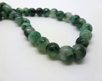 8 round mottled green dyed jade beads faceted 8mm (7 USPJ09)